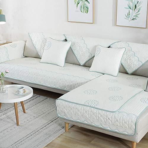 Suuki Fundas para Sofa,Cubre Sofas Chaise Longue,Fundas de sofá Cama de Tela de Alta Gama,Funda de sofá de Seguimiento de algodón,cojín de sofá Antideslizante Universal-Verde_Los 70 * 210cm
