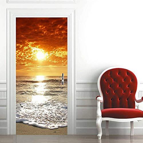 Adhesivo Decorativo Para Puerta 3Detiquetas Engomadas Impermeables De La Puerta 3D Sunset Beach