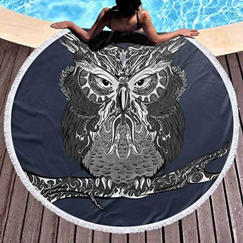 Round Beach Throw Towel Indie Lightweight Beach Towel Owl Vintage Ornaments Use for Kids Women Men Boy Girl (Diameter 59')