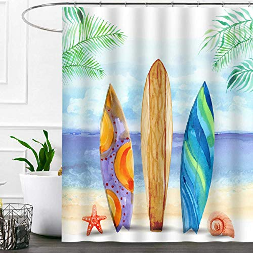 SDDSER Tropical Beach Surfboard Shower Curtain Sets, Summer Green Leaves Watercolor Bathroom Curtains, 72x72 inch with 12 Free Hooks, YLZYSD499