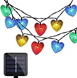 Luces Solares del Corazón, EONANT Luces de Corazón al Aire Lbre 30LED 19.7 Pies a Prueba de Agua con 8 Modo de Trabajo de Iluminación para Decorar el Jardín de la Boda del árbol Navidad (Multicolor)