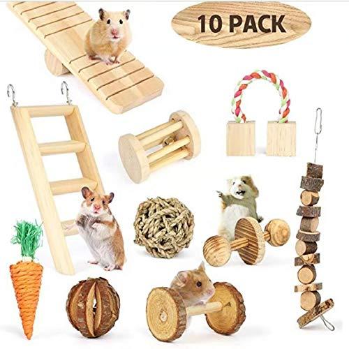 HONGSHENG Parrot Toys, Wooden Pet Toys, Hamsters, Rabbits, Guinea Pigs, Parrots, Molars, Pet Birds, Natural Wood,