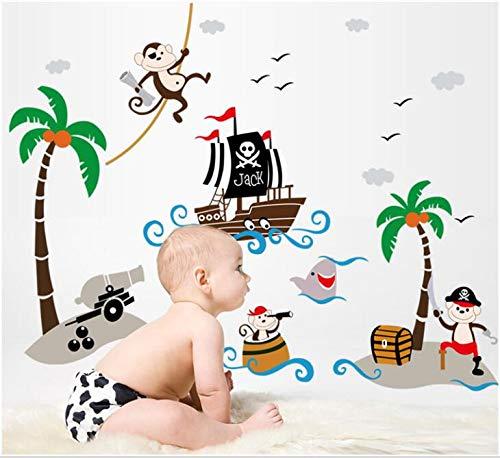 HALLOBO® Wandtattoo Piraten Schiff See Meer Korsar Wandsticker Aufkleber Kinderzimmer Vögel