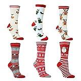 6 pares Calcetines de invierno, divertidos calcetines navideños de algodón unisex, calcetines novedosos como regalo de Navidad para hombres y mujeres