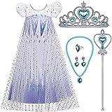 vamei Disfraz de Princesa Elsa con Accesorios de Princesa, Varita mágica de Corona de Princesa Tiara Pendientes de Collar de Elsa, Disfraz de Fiesta de Disfraces de Reina de Hielo congelado