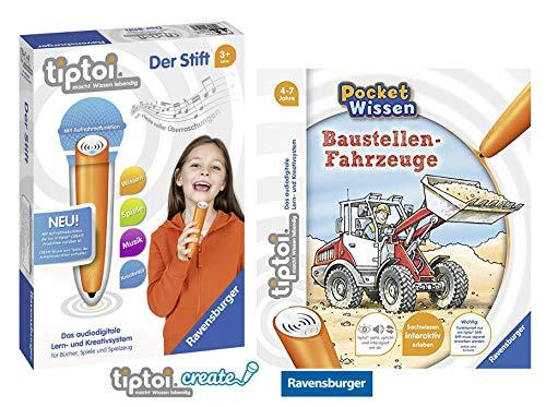 tiptoi Ravensburger Buch 4-7 Jahre | Pocket Wissen - Baustellen-Fahrzeuge + Ravensburger 008018 Stift - neu mit Aufnahmefunktion