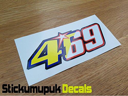 469 Nicky Hayden Aufkleber Superbike MotoGP Mugello Tribute Helm/Auto Motorrad Größe 130 mm – farbig bedruckter Vinyl-Autoaufkleber