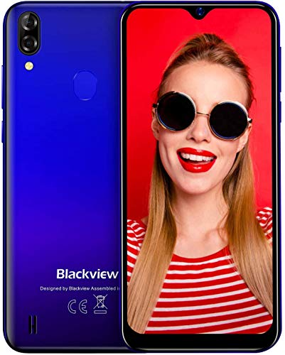 "Blackview A60 Pro Telefono Movil 4G con Pantalla 6.1"" (15.7cm) Water-Drop Screen, Teléfono 3GB+16GB (SD 256GB), 8MP+2MP+5MP, Batería 4080mAh Smartphone Libre, MT6761, Android 9.0, Face ID/GPS-Azul"