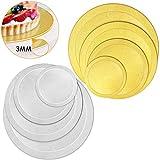 WisFox Cake Board Set di 8 Sottotorta Rivestito Rotondo Fondant Piatto per Torte Cake Boar...