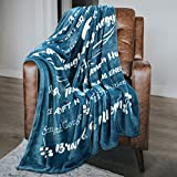 Macevia Inspirational Fleece Healing Thoughts Blanket - Super Soft Sympathy Prayer Throw Blanket Get Well Soon Gifts for Women, Men or Breast Cancer Patient 50×60 Inch (Seablue)