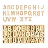 Letras mayúsculas de madera, 156 unidades de alfabeto de madera natural, color natural (26 letras inglesas, 6 por letra)