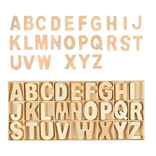 Holz-Großbuchstaben, 156 Stück DIY Naturholz Alphabet natürliche Farbe (26 englische Buchstaben, 6 pro Buchstabe)