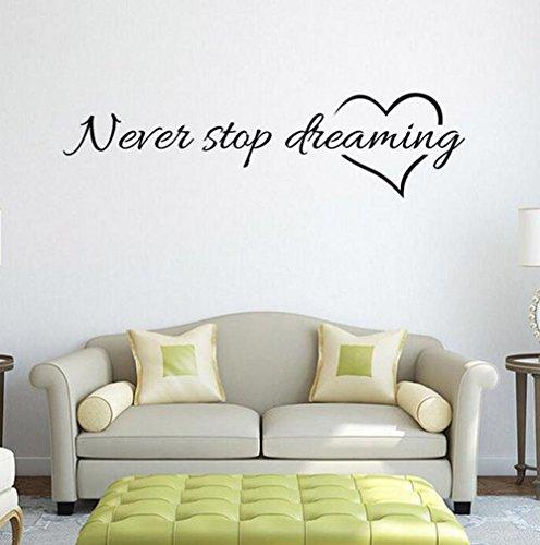 WeiMay. 1 pieza de adhesivo de pared desmontable para el hogar dormitorio decoración 5 estilos, 57 x 15 cm, nunca aufhören zu träumen