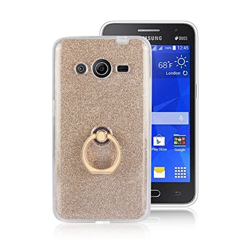 pinlu® Etui Schutzhülle Für Samsung Galaxy Core 2 / Core 2 Duos (G355H, 4.5 Zoll) Soft Silikon TPU Ultra Thin Protective Cover Glitzer Rück mit Abnehmbarer Boden Skin und Ring-Schnalle Design Gold
