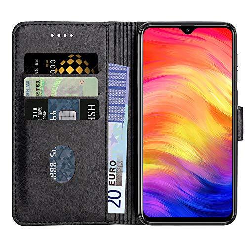 Baiyian Ledertasche Brieftasche Schutzhülle Flip Hülle kompatibel mit Ulefone Note 7 (2019) / 7P, Schwarz