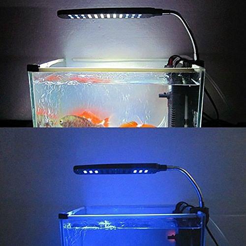 MP power @ Klemmleuchte Clip Lampe Fish Tank Aquarium Beleuchtung Leuchte Weiß und Blau Licht 48 LEDs Einstellbare Soft Arm Schwarz - 4