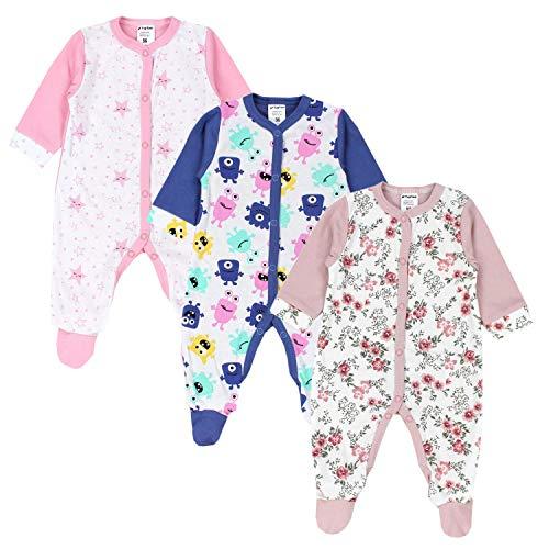 TupTam Baby Mädchen Schlafstrampler mit Fuß 3er Pack, Farbe: Farbenmix 3, Größe: 56