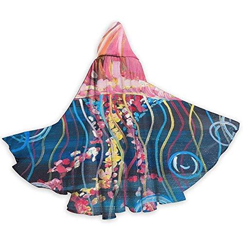 Niet toepasbare losse omhang,cape kostuum,cape met capuchon, lange capuchon, roze elektrische kwallen-schilderparty/kerstkostuum, vampirumhang