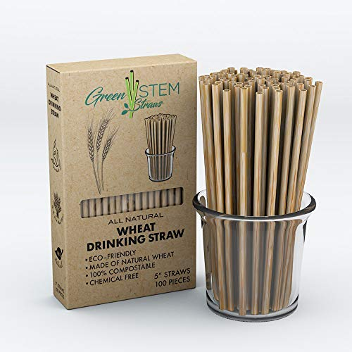 Green Stem Plant Based Cocktail Drinking Straws, All Natural, Biodegradable, Eco-Friendly Disposable Wheat Straws, Organic, Chemical Free Alternative to Plastic Straws, 5', 100 Pack