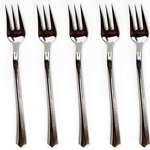"200 Mini Plastic Tasting Forks for Appetizer - 4.2"" Inches Reflection Stainless Steel Finished Silver Perfect Desserts Cocktail Cake Fruit Wedding Party Petite Premium Three Prong Disposable Fork"