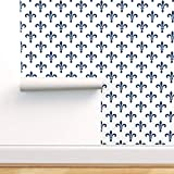Spoonflower Peel and Stick Removable Wallpaper, Gothic Fleur De Lis LYS Medieval Blue and White Lonely Angel French Print, Self-Adhesive Wallpaper 12in x 24in Test Swatch