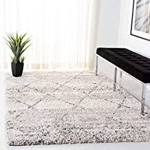 SAFAVIEH Fontana Shag Collection FNT886F Modern Trellis Non-Shedding Living Room Bedroom Dining Room Entryway Plush 2-inch Thick Area Rug , 11' x 15', Grey / Ivory