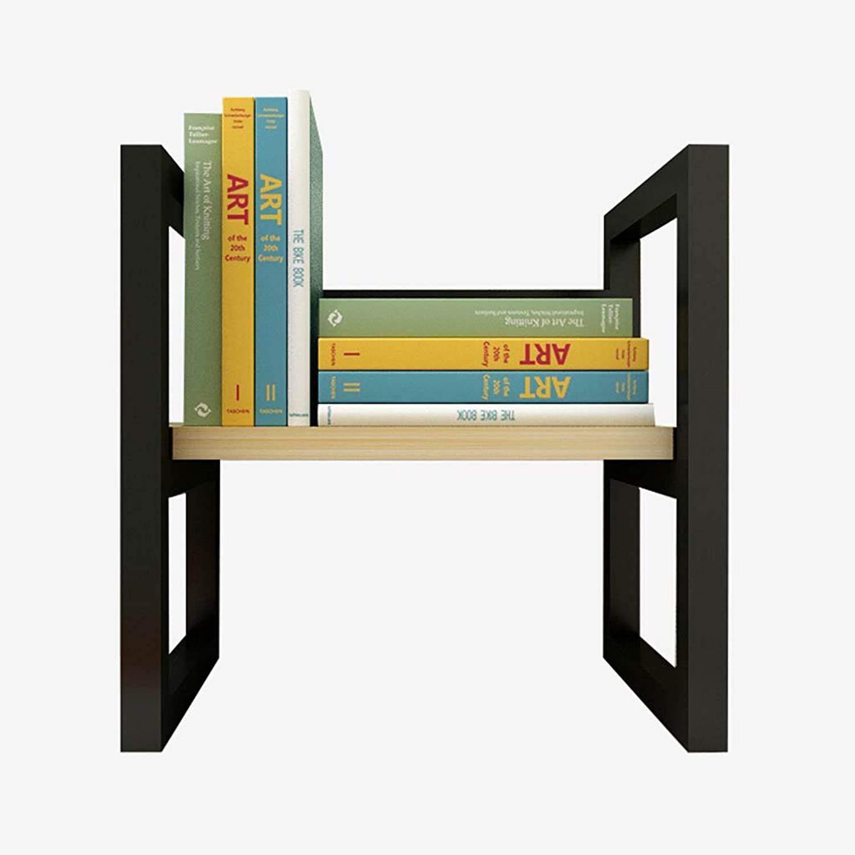 Desktop Bookshelf, Solid Wood Metal Tabletop Rack Bookcase Storage Organizer, Kids Toy Rack,Decor Display Furniture, for Home Office