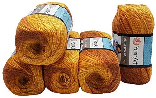 Ilkadim 5 x 100 g YarnArt Angora Active Strickwolle Mehrfarbig mit Farbverlauf, 500 Gramm Strickgarn mit 25% Mohair Wolle-Anteil (terrakotta orange 844)