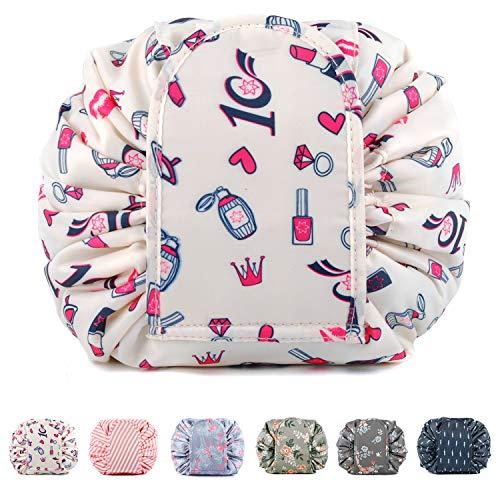 Bolsa de maquillaje portátil con cordón, bolsa de viaje para cosméticos, organizador de artículos de tocador, impermeable, grande para mujeres y niñas (lápiz labial)