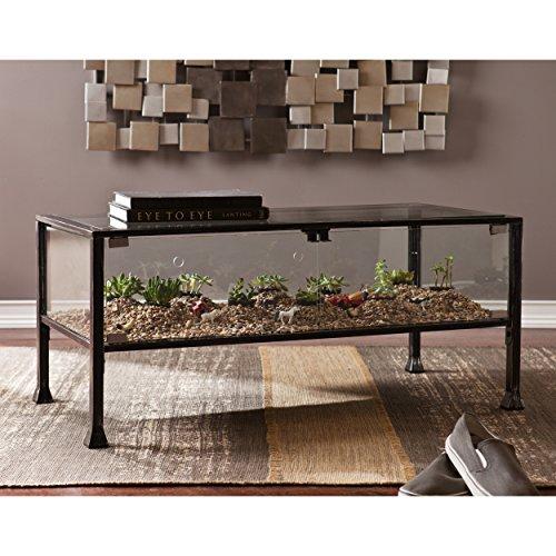 SEI Furniture Terrarium Display Coffee Table, Cocktail, Black/Silver Distressing