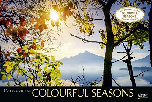 Colourful Seasons 2021: Großer Foto-Wandkalender mit Bildern von Jahreszeiten in der Natur. Edler schwarzer Hintergrund.PhotoArt Panorama Querformat: 58x39 cm.