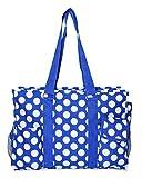 Ever Moda Utility Tote Bag (Polka Dots - Royal Blue)