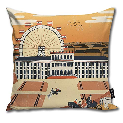 BLUETOP Vienna Pillow Cover, 18 x 18 Inch Winter Holiday Farmhouse Cotton Cushion Case Decoration for Sofa Couch