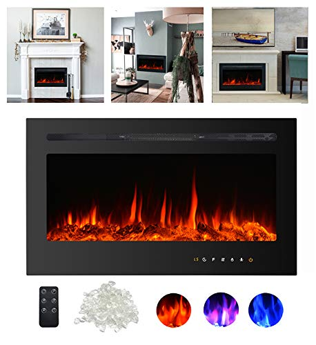 """Kullavik 36"""" Recessed Electric Fireplace, Remote Control with Timer,Touch Screen Heater, Log & Crystal Hearth Options,Wall Mounted/Insert Adjustable Flame Color & Speed,750/1500W, Black electric Fireplace inserts"""