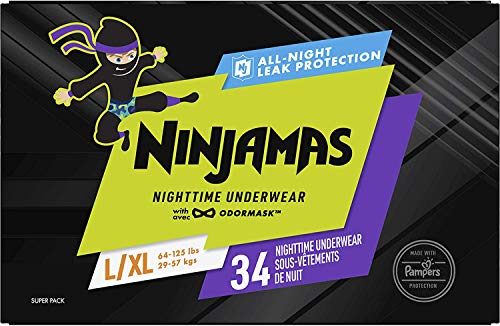 Pampers Ninjamas, Bedwetting Overnight Diapers Disposable Underwear, Nighttime Training Pants Boys, FSA HSA Eligible, 34 Count, Size L/XL (64-125 lbs)