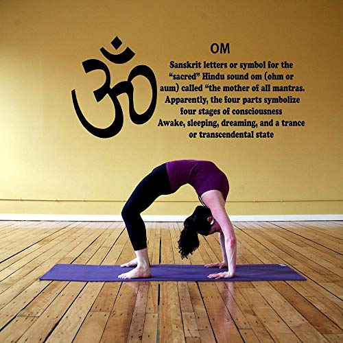 GUOYXUAN Yoga Kamer Muur Raam Aufkleber Aufkleber Om Symbool Beschrijving Hindoe Ganesh Gott Yoga Studio Dekor Vinyl Behang Woonkamer 129 * 57cm