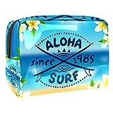 Estuche para Maquillaje Estuche para Maquillaje Estuche para cosméticos Estuche para cosméticos Portátil Profesional Aloha Surf Vector Logo Organizador y Almacenamiento de Porta brochas de Maquillaje