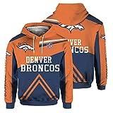 CSHASHA Sweat-Shirt à Capuche - NFL Denver Broncos Rugby Fan Unisexe Capuche Baseball Printemps Uniforme Manteau De Sport Casual Top - Ados Cadeaux Dark Blue + Orange-XL