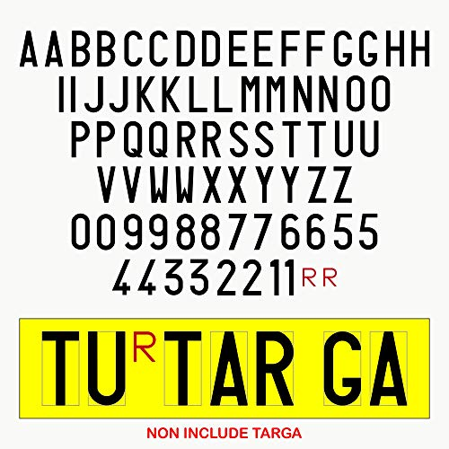 Autodomy Confezione Lettere e Numeri Adesivi per Targa Ripetitrice per rimorchi e carrelli appendice
