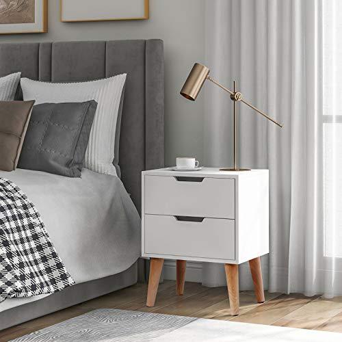 æ— Mesita de noche de madera para dormitorio, 2 cajones, mesita de noche con cajón y mesa auxiliar para dormitorio, sala de estar, color blanco