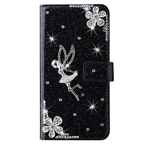 for iPhone Xr Case, 3D Handmade Gems Crystal Glitter Plum Angle Girly Wallet Phone Cases Shockproof PU Leather Stand Magnetic Flip Notebook Protective Cover for iPhone Xr black