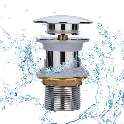 Yizhet Universal Ablaufgarnitur, waschbecken ablauf für den Waschtisch Pop Up Ventil - Ablaufventil mit Überlauf Push-Open-Technik Stöpsel Waschspüle