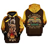 9Yourtime Men's Camping Funny Pullover Hate People Bear Hoodie 3D All Over Printed Sweatshirt (Medium)