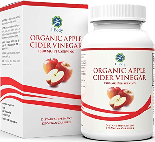1 Body - Organic Apple Cider Vinegar Pills (1500mg) - with Cayenne Pepper - Natural Dietary Supplement - Manage Digestive Health, Blood Sugar, & Cholesterol - 120 Vegetarian Capsules