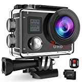 Campark ACT76 Action Cam 4K Wi-Fi 16MP FHD Impermeabile 30M Immersione Sott'Acqua Camera con Schermo 2 Pollici 170 Gradi Ampia Vista Grandangolare/Telecomando 2.4G/Kit Accessori