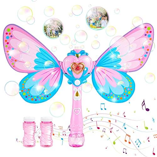 Maquina Burbujas para Niños, Soplador de Pompas Jabon Bubble Maker para Niños y Adultos, Hadas Mariposa Máquina de Burbujas Varita Hadas con Música y Luz, Botellas de Burbujas Incluida Pompas (Rosa)