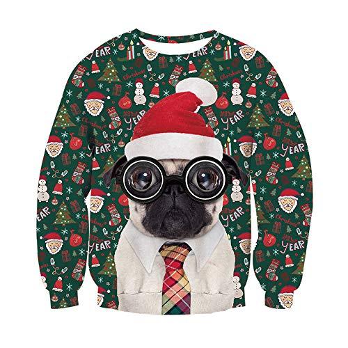 Rave on Friday Unisex 3D Weihnachtspullover Personalisierte Hund Design Pullover Sweater Langarm Weihnachtsidee Geschenk Sweatshirt für Männchen L