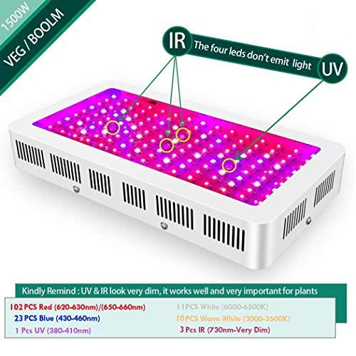 LED Pflanzenwachstumslampe 1500w Doppelschalter Schalter Schwarz-Weiß-Schale Gewächshauspflanze Fülllicht für die Vielfalt der wachsenden Zimmerpflanzen
