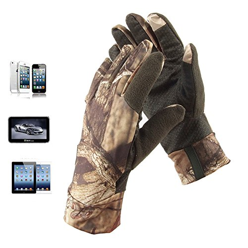 eForCrazy Camouflage Sport Touchscreen Gloves for Smart Phone Anti-Slip Waterproof Long Finger Gloves Camping Fishing Outdoor One Size