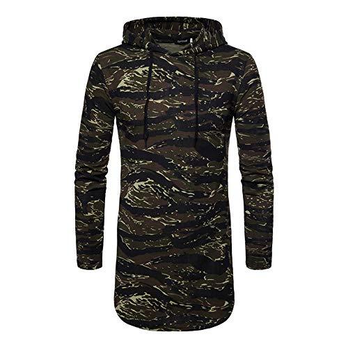 BOZEVON Homme Longue Sweat-Shirt à Capuche - Camouflage Hoodies Pullover Manches Longues Tops Outwear Hommes, Vert, EU S=Tag M